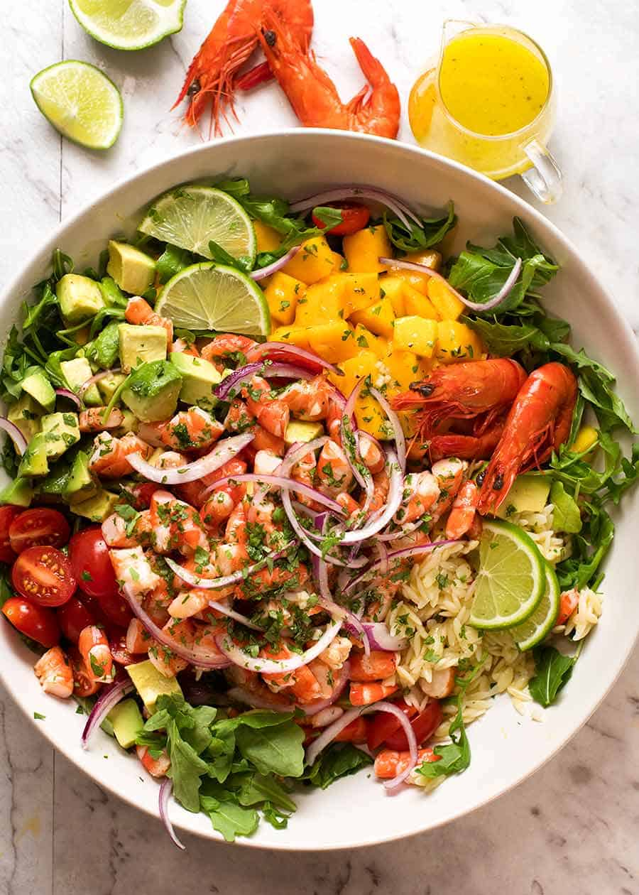 Prawn Mango Avocado Summer Salad with Lime Dressing overhead photo